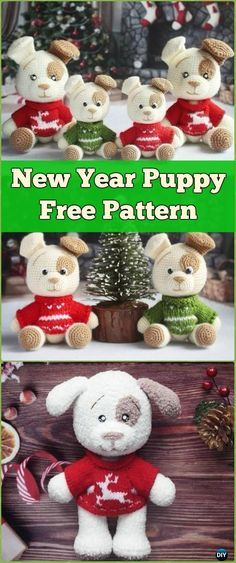 Crochet New Year Puppy Dog Amigurumi Free Pattern - Amigurumi Puppy Dog Stuffed Toy Patterns