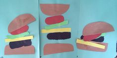 Hamburger Craft for Preschool or Kindergarten. Letter H craft. Students learn about placement as they create a delicious hamburger.