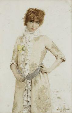[Sarah BERNHARDT]. Marie BESSON. Sarah Bernhardt dans la Dame aux camélias. Peinture sur porcelaine, signée et datée 1886, en bas à droite ; 30 x 20 cm. Amie et élève de Sarah Bernhardt, Marie Besson, peintre sur porcelaine, a réalisé plusieurs portraits de la grande actrice.