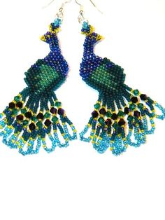 Beaded Peacock Earrings