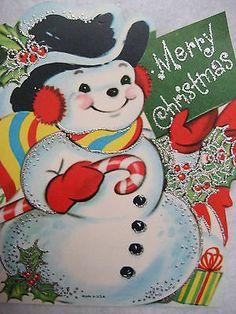 Lustre Brite Glitter Snowman w/ Earmuffs & Candy Cane
