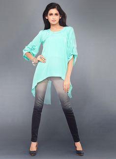 Turquoise #Georgette #Kurti