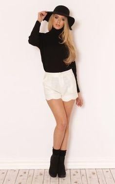 Riya Scallop Hem Cream Shorts