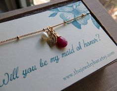 Will you be my maid of honor card and personalized bracelet, leaf initial bracelet, maid of honor gifts, wedding party jewelry