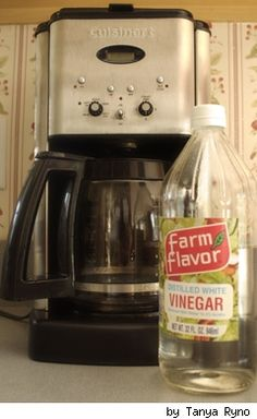 How to clean your coffee maker: 1 part vinegar to 2 parts water.- I had to do this twice, but it worked well.-CB