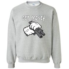 Cartoon Hands Get Money With Gun Crewneck Sweatshirt Cartoon Hands... ($13) ❤ liked on Polyvore featuring tops, silver, women's clothing, long white top, crew neck tops, long tops, comic book and silver top