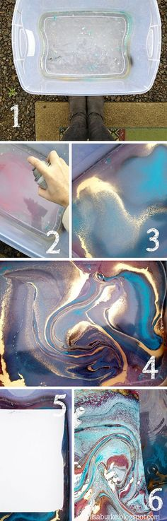 Spray paint for marbleized pieces! Could use this for canvas for C's room!