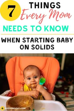 Your baby starting solid foods is an exciting venture, but I must say there is not an exact guide that all babies follow. However, there are some steps you can take to minimize stress and make this a more fun experience no matter how long it takes for your little one to eat baby food. Find out what to look for for knowing when to feed baby solids. #babyfood, #feedingbabyfood, #whentofeedbabysolids, #startingsolidsbaby, #babyselffeeding, #foodsbaby