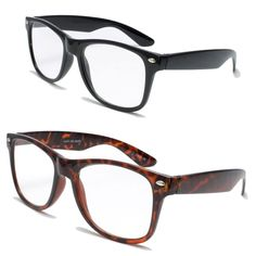 fd54c9ddf1b Amazon.com  2 Pairs Deluxe Wayfarer Style Reading Glasses - Comfortable  Stylish Simple Readers Rx Magnification (1 tortoise 1 black