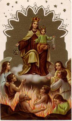 Our Lady of Mount Carmel - Novena Prayers Novena Prayers, Catholic Prayers, Catholic Art, Catholic Saints, Roman Catholic, Religious Art, Lady Of Mount Carmel, Vintage Holy Cards, Les Religions