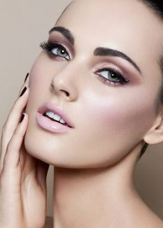 Flawless brows and complexion, rose-gold eyes, light pink lip and blush.