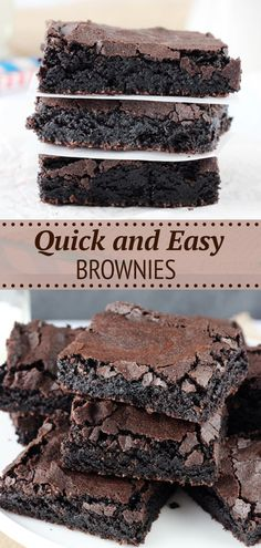 This Easy Homemade Brownies Recipe makes cakey brownies that taste like box mix brownies! With perfect crisp crackly tops and chewy centers, these brownies hit all the right notes! Easy No Bake Desserts, Delicious Desserts, Dessert Recipes, Yummy Food, Homemade Snickers, Homemade Brownies, Best Brownies, Quick Easy Brownies, Baking Recipes