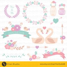 Lovely floral clipart vector - Digital Clipart - Instant Download - EPS, PNG files included by ChenStudio88 on Etsy https://www.etsy.com/listing/241418744/lovely-floral-clipart-vector-digital