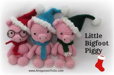 Amigurumi Christmas Pigs - FREE Crochet Pattern / Tutorial