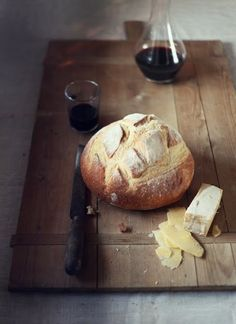 loaf bread/brie/wine.