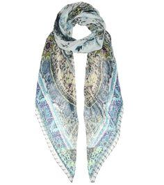 Multicoloured printed silk scarf