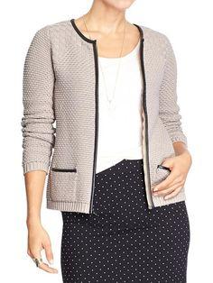 Women's Faux-Leather-Trim Zip Cardigans