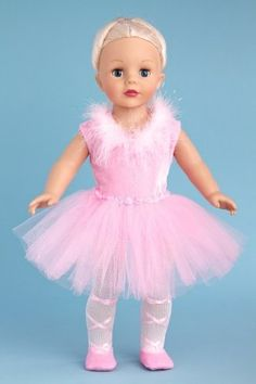 DreamWorld Collections Pink Swan - Pink Ballerina Outfit includes Leotard, Tutu, Tights and Ballet Shoes - Clothing for 18 inch Dolls : Activewear Doll Clothes