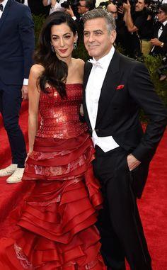 Amal Clooney & George Clooney Arrive at the 2015 Met Gala—See Amal's Crimson, Sequin-Embellished Maison Margiela Dress!  Amal Clooney, George Clooney, Met Gala 2015