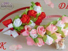 How to Make Ribbon Woven Headband Satin Ribbon Roses, Ribbon Art, Ribbon Crafts, Rose Crafts, Diy And Crafts, Diy Rose, Ribbon Flower Tutorial, Kanzashi Tutorial, Baby Hair Bands