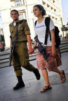 Jews with guns in their own land? NOBODY'S victims! IDF -Israel Defense Forces - a common sight on the streets of Israel. Don't be afraid to visit God's land: it is well-protected!!!