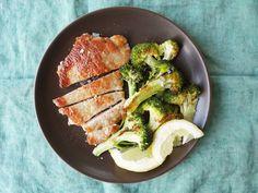 Sautéed Pork Cutlets with Garlicky Roasted Broccoli