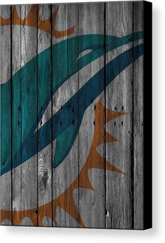 Miami Dolphins Canvas Print featuring the photograph Miami Dolphins Wood Fence by Joe Hamilton
