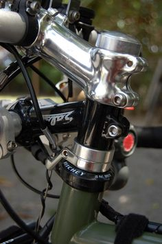 Angled brake noodle installed to enable cable rerouting while using a second stem for accessories