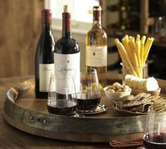 Cool Barrel Top Lazy Susan—perfect for a wine & cheese tasting party—esp to display several cheeses per slice of pie) so guests can rotate the tray to sample each❣ Pottery Barn Patio Bar Set, Pub Table Sets, A Table, Wine Table, High Top Table Kitchen, High Top Tables, Mini Bars, Antipasto, Wine Barrel Lazy Susan