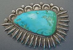 Large Old  Starburst Pin/Sew-On Ornament, unsigned, silverwork uses elements from both Navajo and Zuni styles