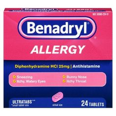Active Ingredient Diphenhydramine NCI / Antihistamine Relieves: Sneezing, Running Nose, Itchy, Watery Eyes, Itchy Throat Ultratabs / Small Tablet Size / 24 Tablets Most Effective Allergy Relief When You Need It! Cold Symptoms, Allergy Symptoms, Poison Ivy Relief, Benadryl Dosage, Eye Stye Remedies, Allergy Medicine, Watery Eyes, Lotion For Dry Skin, Products