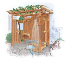 Outdoor Bathrooms 682295412279113429 - Creating an Outdoor Shower – FineGardening Source by Outdoor Baths, Outdoor Bathrooms, Outdoor Kitchens, Backyard Pergola, Backyard Landscaping, Pergola Kits, Outdoor Projects, Garden Projects, Outside Showers