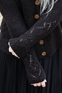 A cozy, worm and woolly cardigan with full length raglan sleeves and geometric lace on the sides and the sleeves.