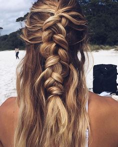 half-up honey blonde french braid