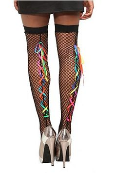 ce35bd92065 Black Fishnet Rainbow Lace-Up Thigh Highs Pantyhose Brands