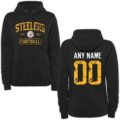Women's Black Pittsburgh Steelers Distressed Custom Name & Number Pullover Hoodie    Size 2x, you customize