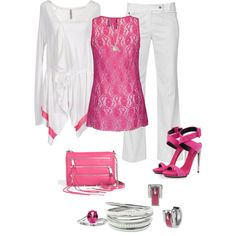 Pink White & Silver by ding1 on Polyvore