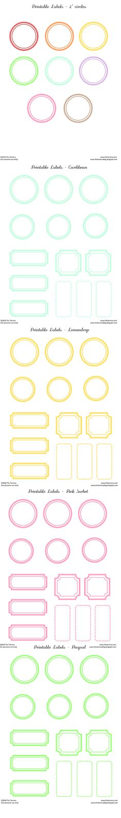 Free printable labels - in many colours