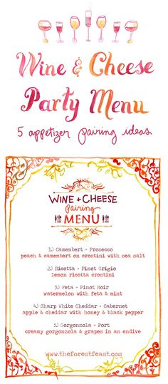 Wine and Cheese Party Menu - The Forest Feast