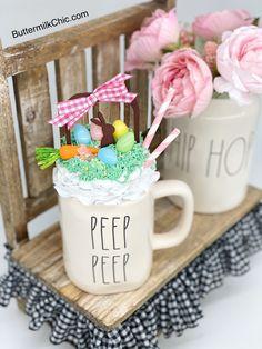 Faux Whip Cream Mug Topper Easter Crafts, Fun Crafts, Diy Whipped Cream, Easter Bunny Decorations, Easter Decor, Cream Mugs, Hot Chocolate Mug, Fake Cake, Hoppy Easter