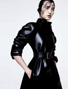Luping Wang - Marella leather coat