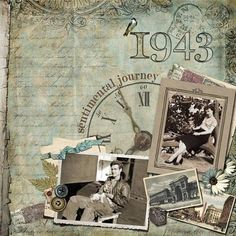 """I ♥ the little details in this layout.... like the clock and its sentiment, or the bird perched on the """"1"""" in """"1943""""!"""
