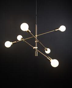 Feature Pendant Lights - Trikonansana Brass 3 Arm Ceiling Light Branch Chandelier, Sputnik Chandelier, Chandelier Lighting, Ceiling Rose, Ceiling Lights, Central Bar, Cupboard Knobs, Shop Lighting, Lighting Ideas