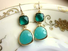 Emerald Green Earrings Aqua Blue Two Tier  Bridesmaid by laalee, $32.00