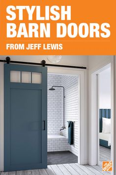 Bring an exciting, on-trend statement piece into your home when you add a space-saving Jeff Lewis Barn Door by Masonite. Available in a variety of colors from Jeff Lewis' chic and classic paint collection, you're sure to find a stylish composite door to stand out in your home. Shop the collection.