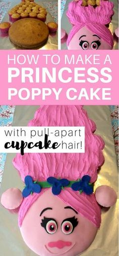 How to make a Princess Poppy cake with pull-apart cupcake hair: step by step tutorial to make a Trolls Princess Poppy Cake