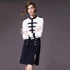 Кейт Платье 2016 Весенняя Мода Марка Военная Британский Стиль Элегантный Длинным рукавом Белый и Черный Лоскутная колен работа Платья купить на AliExpress