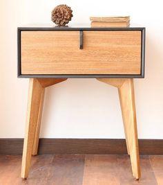 Oak and Valchromat Negro Mdf Furniture, Wood Pallet Furniture, Diy Furniture Projects, Small Furniture, Furniture Styles, Furniture Design, Baby Cradle Wooden, Modern Side Table, Furniture Inspiration