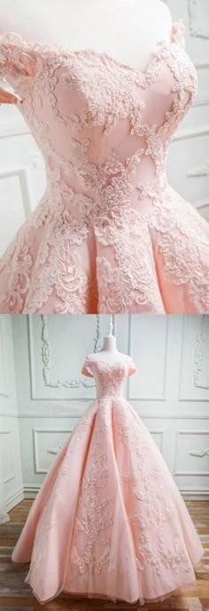 Pink Off the Shoulder Long Prom Dress with Appliques Lace Evening Dress by PrettyLady, $174.66 USD