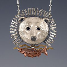 Materials: Cast sterling silver, cast copper salmon, fabricated…
